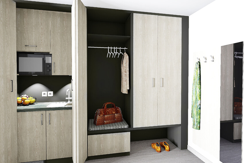 Superior Plus Room kitchenette and wardrobe