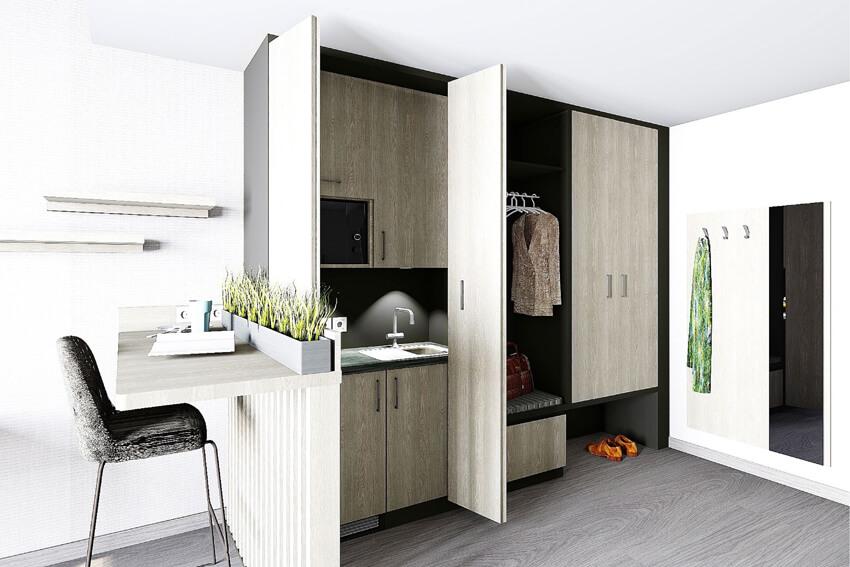 Superior Plus Zimmer mit Küchenzeile und Essbereich